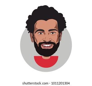27 Jan 2018,Egypt , Mohamed Salah flat icon portrait