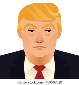 27 september 2016: vector portrait of Donald Trump, republican presidential candidate.