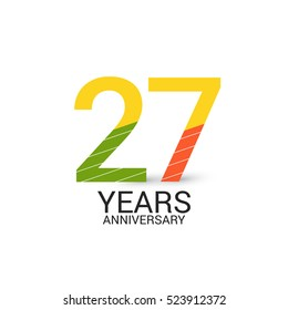 27 Years Anniversary Colorful and Simple Design Style. Logo Celebration Isolated on White Background