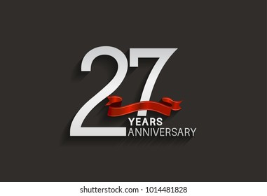 27 years anniversary design with silver color and red ribbon isolated on black background for celebration event