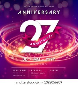 27 years anniversary logo template on purple Abstract futuristic space background. 27th modern technology design celebrating numbers with Hi-tech network digital technology concept design elements.
