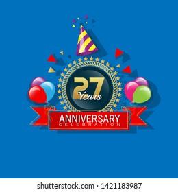 27 years anniversary - modern design celebrating. 27 years anniversary celebration simple logo. ribbon,balloon, gold emblem