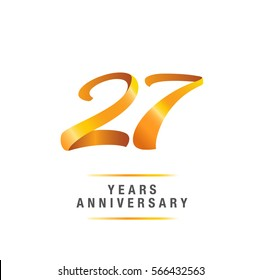 27 years golden anniversary celebration logo , isolated on white background