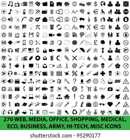 270 WEB, MEDIA, OFFICE, SHOPPING, MEDICAL, ECO, BUSINESS, ARMY, HI-TECH, MISC ICONS