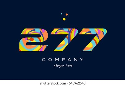 277 number digit numeral logo colored colorful rainbow acrylic modern creative vector icon design template