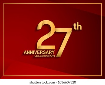 27th anniversary celebration logotype golden color isolated on red color