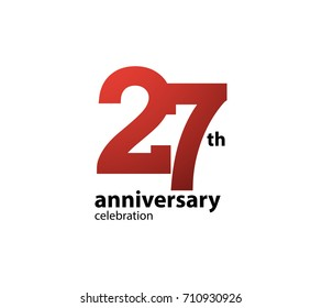 27th anniversary celebration logotype. anniversary logo simple isolated on white background, vector design for celebration, invitation card, and greeting card