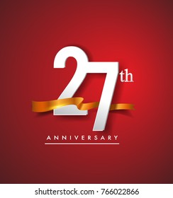 27th anniversary logotype with golden ribbon isolated on red elegance background, vector design for birthday celebration, greeting card and invitation card.