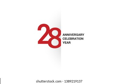 28 anniversary, minimalist logo. 28th jubilee, greeting card. Birthday invitation. 28 year sign. Red space vector illustration on white background - Vector