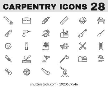 28 Carpentry Line Art Icon in Flat Style.