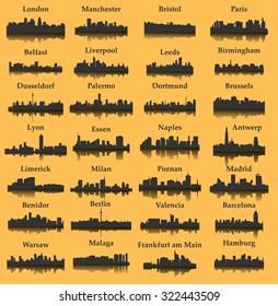 28 City silhouette in Europe ( London, Berlin, Madrid, Dortmund, Warsaw, Palermo, Liverpool, Brussels, Barcelona, Paris, ... )