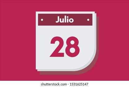 28 de Julio. Dia del mes. Calendario (July 28th. Day of month. Calendar in spanish) vector illustration icon.