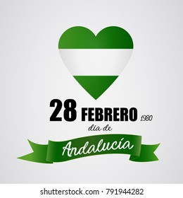 28 February Andalusia day. Independence: White and green heart representing the flag of Andalusia, Spain region. Day of autonomy. Vector image.
