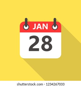 28 january calendar flat style icon with long shadow.