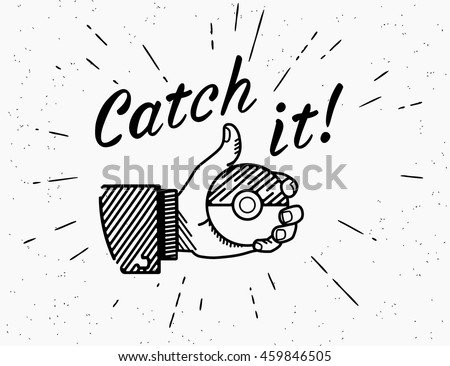 28 of July 2016: Vector thumbs up symbol icon with the pokemon ball. Retro fashioned illustration of human hand holds the pokemon ball with handwritten lettering text catch it on grunge background