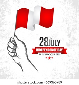 28 July Independence Day of Republic of Peru with flag and white background vector illustration