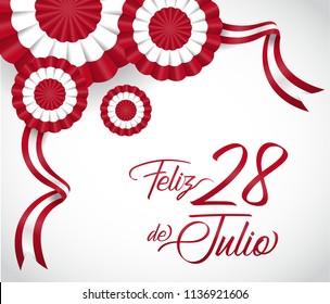 28 july. Peru Happy Independence Day Cockade. Vector