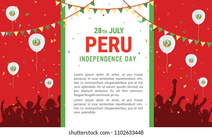 28 July, Peru Independence Day greeting card national flag color background with  balloon, confetti, ribbon and celebrating people.