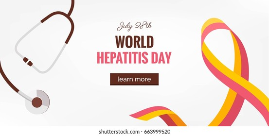 28 July World hepatitis day. Hepatitis Awareness Ribbon Background.  World hepatitis day banner with ribbon and medical clipboard. Vector illustration