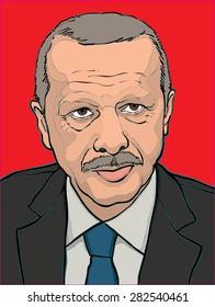 28 may 2015. hand drawn vector illustration of President Recep Tayyip Erdogan