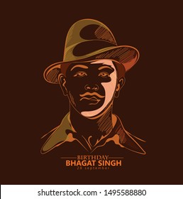 28 September- Bhagat Singh birth day. Indian freedom fighter illustration of Bhagat Singh