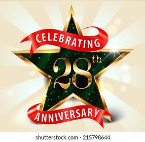 28 year anniversary celebration golden star ribbon, celebrating 28th anniversary decorative golden invitation card - vector eps10