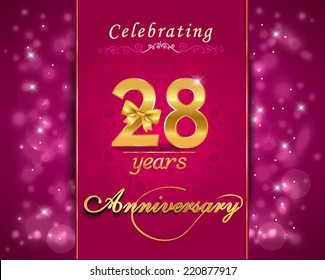 28 year anniversary celebration sparkling card, 28th anniversary vibrant background -  vector eps10