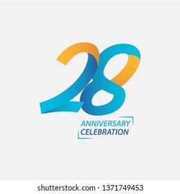 28 Year Anniversary Celebration Vector Template Design Illustration