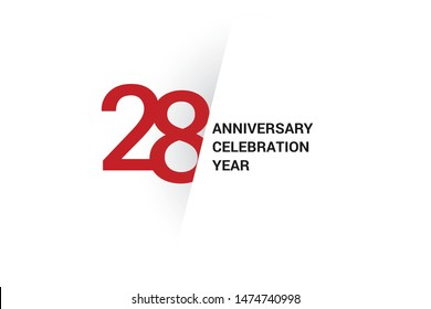 28 year anniversary, minimalist logo. 28 year jubilee, greeting card. Birthday invitation. year sign. Red space vector illustration on white background - Vector