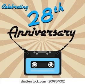 28 year anniversary retro label, 28th anniversary decorative retro poster - vector illustration