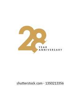 28 Year Anniversary Vector Template Design Illustration