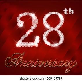 28 year happy birthday card, 28th anniversary sparkles - vector EPS10