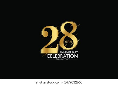 28 year minimalist logo years, jubilee, greeting card. Birthday invitation. Sign Gold space vector illustration on black background - Vector