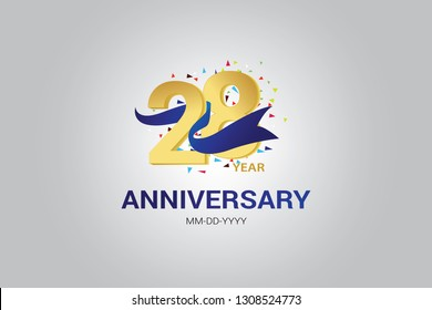 28 years anniversary blue ribbon celebration logotype. anniversary logo with golden and Spark light white color isolated on black background, vector design for celebration, invitation vector