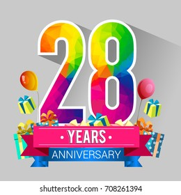 28 Years Anniversary Celebration Design, with gift box and balloons, red ribbon, Colorful polygonal logotype, Vector template elements for your birthday party.