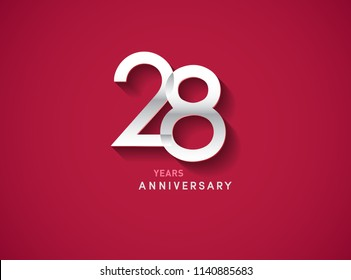 28 years anniversary celebration logotype with silver color isolated on Red background