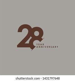 28 Years Anniversary Celebration Vector Template Design Illustration