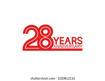 28 years anniversary design with red multiple line style isolated on white background for celebration