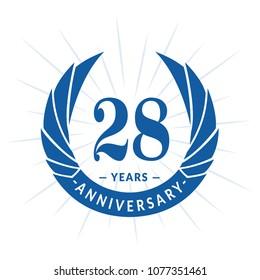 28 years anniversary. Elegant anniversary design. 28 years logo.
