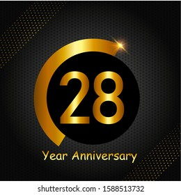 28 years anniversary golden color with circle ring isolated on black background for anniversary