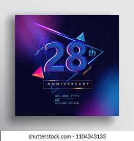 28 Years Anniversary Logo with Colorful Galactic background, Vector Design Template Elements for Invitation Card and Poster Your Birthday Celebration.