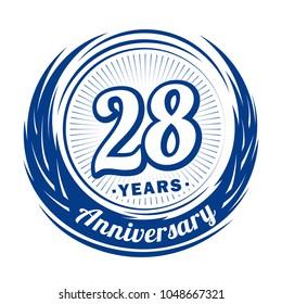 28 years anniversary. Anniversary logo design. 28 years logo.