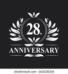 28 years Anniversary logo, luxurious 28th Anniversary design celebration.