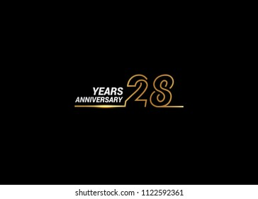 28 Years Anniversary logotype with golden colored font numbers made of one connected line, isolated on white background for company celebration event, birthday