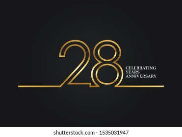 28 Years Anniversary logotype with golden colored font numbers made of one connected line, isolated on black background for company celebration event, birthday