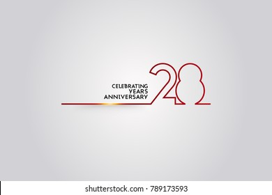 28 Years anniversary logotype with red colored  font numbers made of one  connected line, isolated on white background for company celebration event, birthday