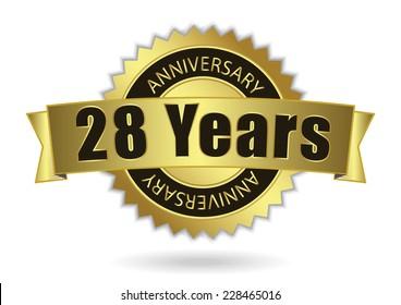 """28 Years Anniversary"" - Retro Golden Ribbon, EPS 10 vector illustration"