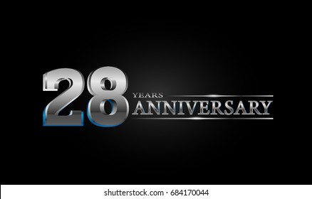 28 Years silver anniversary celebration logo, anniversary for celebration, birthday, wedding and party