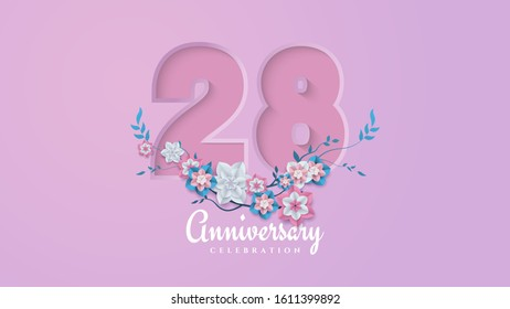 28th anniversary background with feminine figures and flower illustrations.