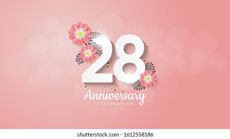 28th anniversary background with flower illustrations on white numbers on a pink background.